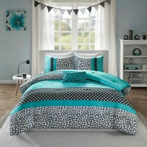 Details About Comforter Bedding Set For Queen Black White Teal Stripe Polka Dot Bed Cover