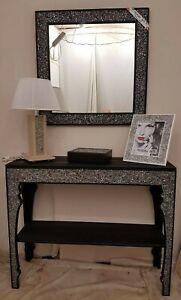 Dettagli Su Consolle Mobile E Specchio Moderno Nero Ingresso Design Entrata Vari Colori New