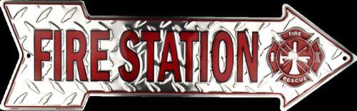"FIRE STATION 20/""X 6/"" METAL EMBOSSED ARROW SIGN FIREMAN FIREFIGHTER MALTESE CROSS"