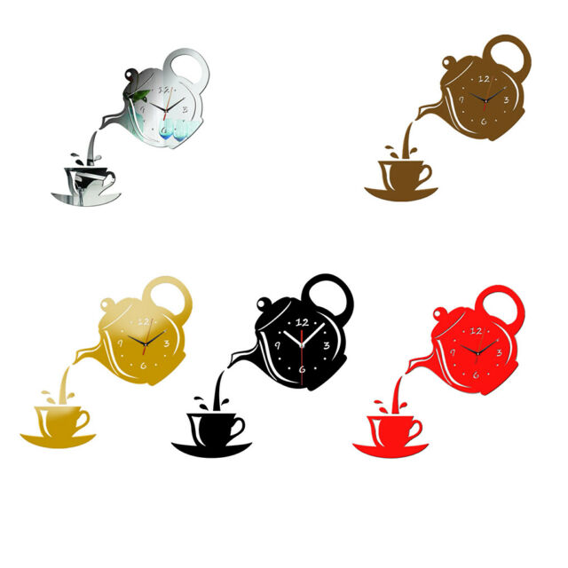 Teapot Clock Wall Mirror Effect Coffee Cup Shape Decoration Home Decor Kitchen