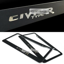 License Plate Aluminum Metal Black Frame Chrome Point Logo 2P for HONDA CIVIC