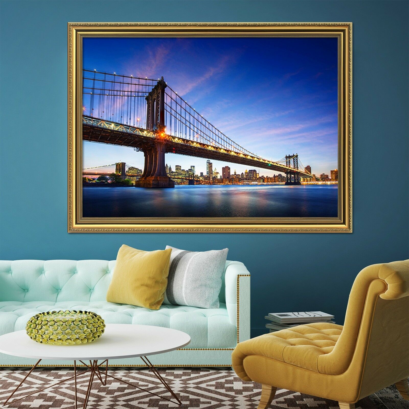 3D City Bridge Scenery 2 Framed Poster Home Decor Print Painting Art WALLPAPER