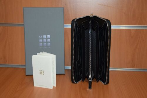 Portafoglio Zip Lineage Con Pelle Moleskine Nero Cerniera Originale Lusso In H1and