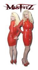 Misfitz red rubber latex padlock strait jacket dress sizes 8-32/made to measure