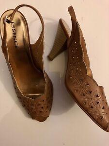 d960a1e47c4d8 Wide Fit Peep-toe Slingback Heels Size 7 Tan Evans Essence