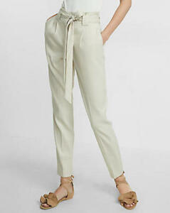 super quality modern and elegant in fashion search for best Details about EXPRESS ANKLE HIGH RISE LINEN BLEND BELTED SASH PANTS 10