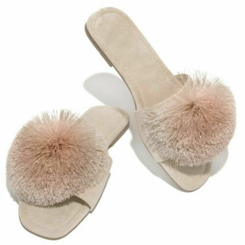 Real Fox Slippers Fur Slides  Sliders  Comfort   Sandals Fuzzy Furry Shoes