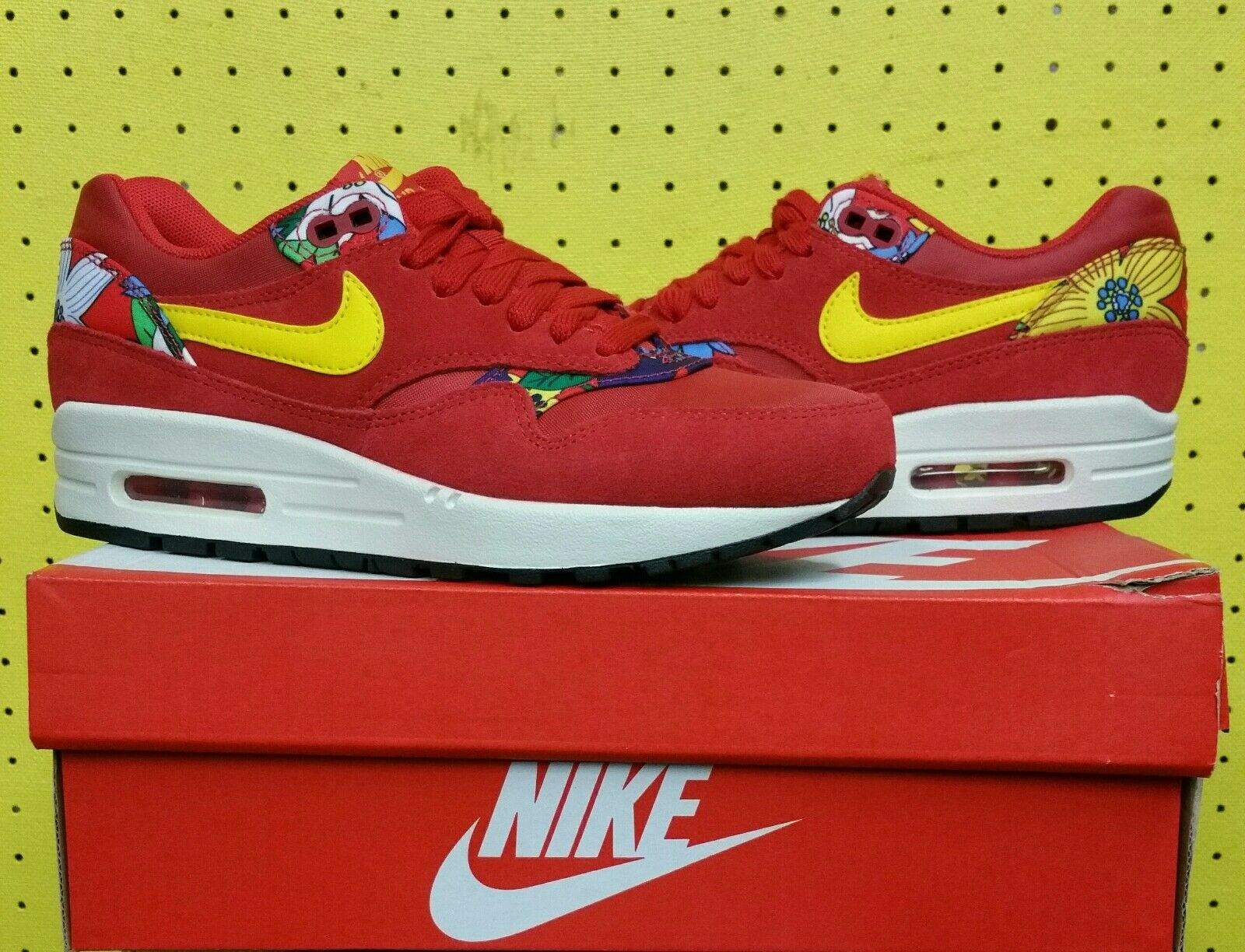 NEW Women's Nike Air Max 1 Print shoes Sz 5.5 Aloha Red Tour Yellow 528898 602