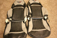 1997-2004 C5 Corvette Genuine Leather Black & Light Grey Covers for Sport Seats