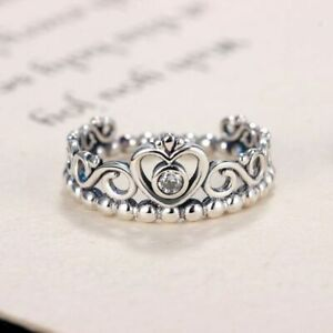 Silver-Color-Princess-Ring-Queen-Crown-Pandoras-Ring-Engagement-Jewelry-Tiara