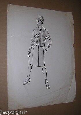 Appena C1960. Opera D'arte Originale Moda Donna. Vestito B&w Acquerello Tuta. Vintage.-mostra Il Titolo Originale