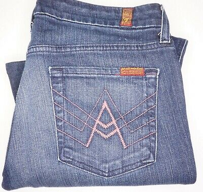 Independent 7 For All Mankind Sz 28/32 Relieving Rheumatism And Cold A Pocket Pink Dark Wash Women's Jeans
