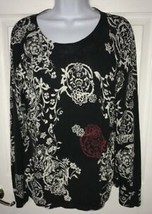 Harold-s-Silk-Cotton-Black-White-Red-Floral-L-S-Knit-Top-Thin-Sweater-Size-XL