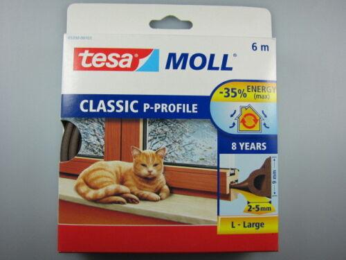 2-5mm Türdichtung 6m, tesa Moll P-Profil Classic braun Fensterdichtung 9mm