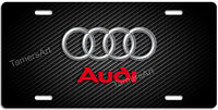 Audi Carbon Fiber Illusion Background Metal License Plate Made In Usa