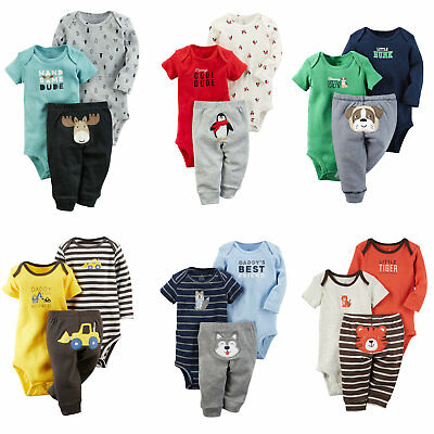 3-Piece Little Character Baby 2 Bodysuits Pant Cotton Bebe/'s Clothing Set