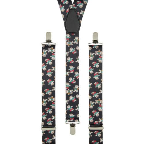 Teddy Bears Black Novelty Clip On Trouser Braces Elastic Suspenders Handmade UK