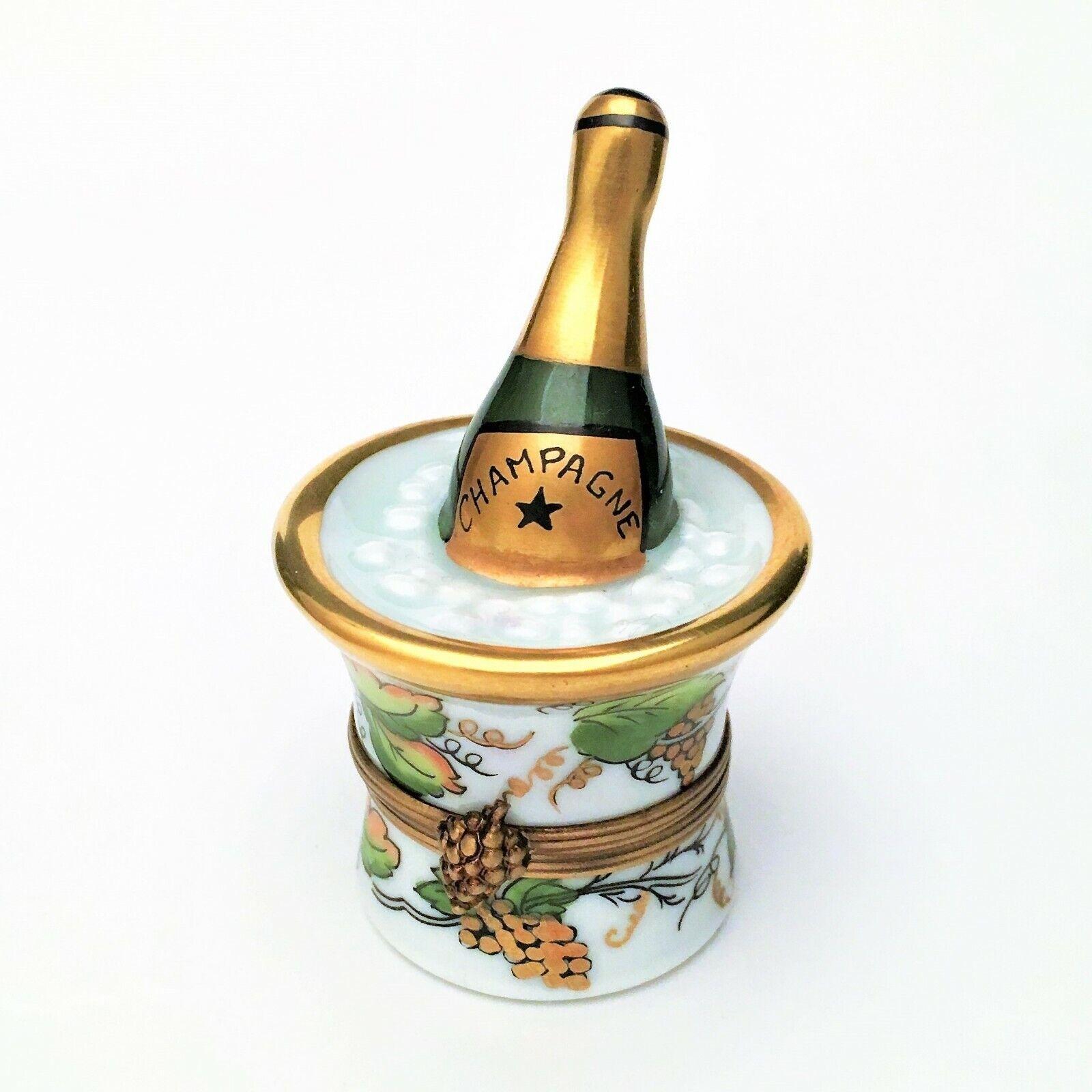 Retirado De Porcelana De Limoges Caja de la baratija, botella de champán en Cubo de Hielo, firmado