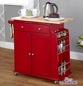 Image Is Loading Red Kitchen Cart Island Rolling Storage Utility Cabinet