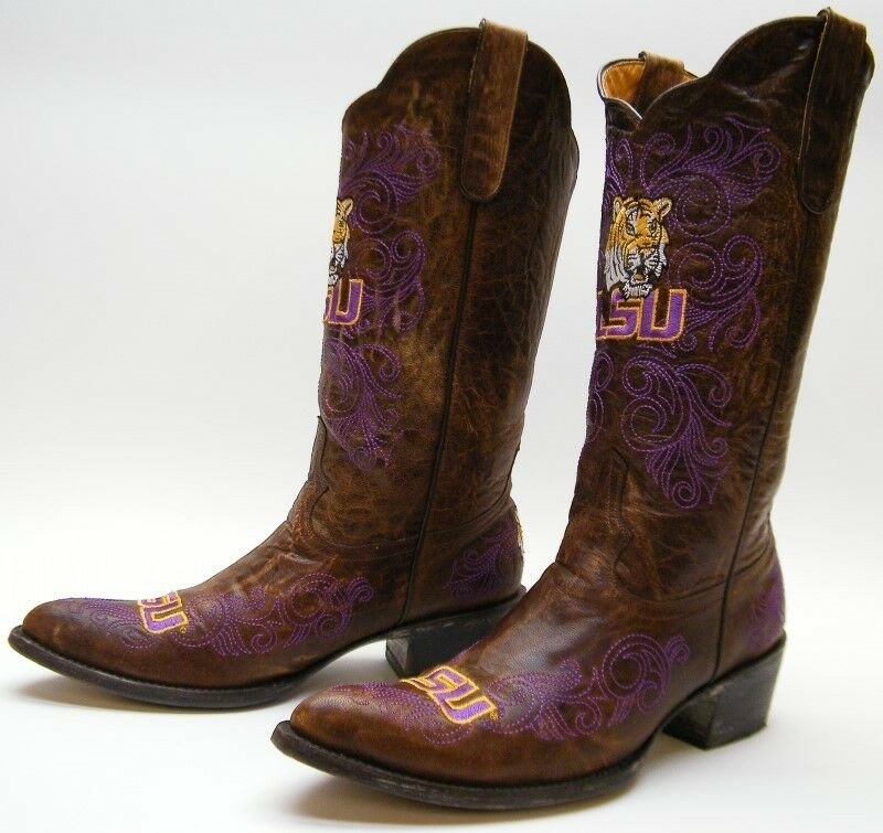 Donna GAMEDAY LSU PURPLE GOLD EMBROIDERED BRN LEATHER COWBOY WESTERN BOOTS 9 B