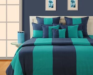 Swayam Purple And Green Colour Stripes Single Bed Sheet With Pillow Covers