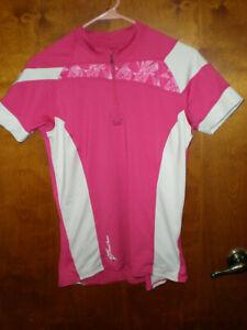 (grand) Pearl Izumi Pour Femmes 1/4 Zip Rose & Blanc Cyclisme Vélo Jersey-afficher Le Titre D'origine BéNéFique Au Sperme