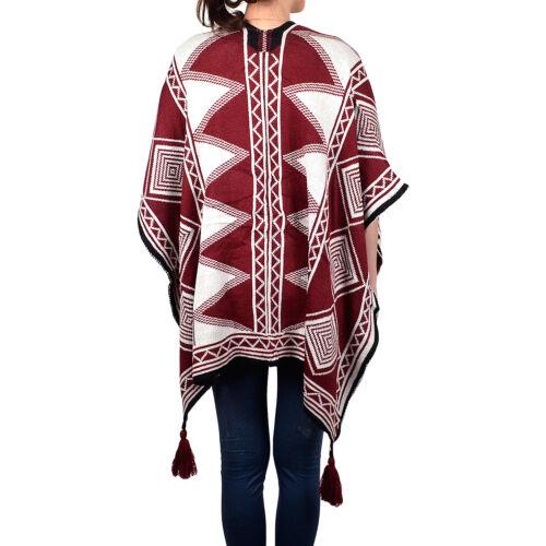Femmes Tricot Hiver Poncho-comme Châle Wrap Geometric Diamond Triangle Tassel