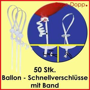 50 schnellverschl sse mit band f r helium ballongas latex. Black Bedroom Furniture Sets. Home Design Ideas