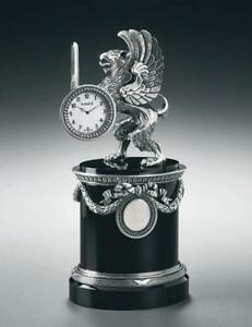 Imperial-FABERGE-SILVER-AND-ONYX-GRYPHON-DESK-CLOCK-limited-edition-of-50
