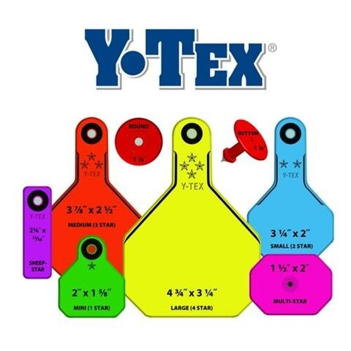 Y-TEX LARGE 4-STAR TAGS Adult Cattle Fade Tear Resistent Blank Purple 25ct Pkg.