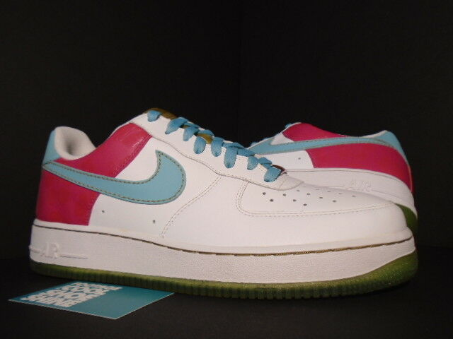 2007 Nike Air Force 1 '07 WHITE PARADISE AQUA CERISE PINK GOLD FLORAL 315122-141