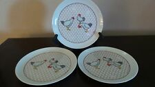 Vintage Takahashi of San Francisco Salad Plates Chickens on Red Chicken Wire