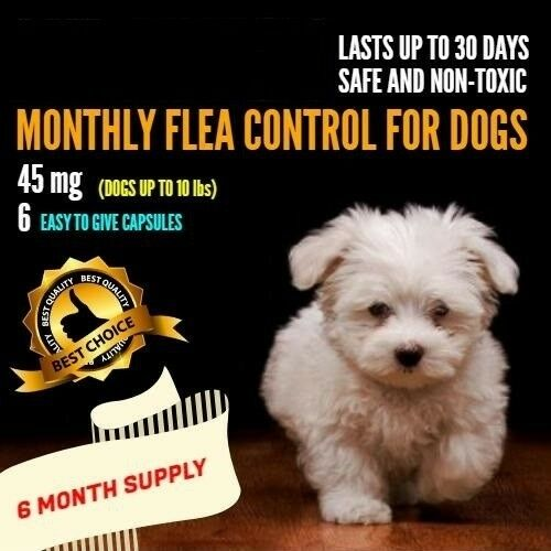 6 Monthly Capsules Flea Control 45 mg Dogs 2-10 lbs FAST FREE SHIPPING