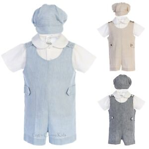dccfc547aa87 Boys Cotton Linen Romper Set Outfit Hat Baby Toddler Wedding Party ...