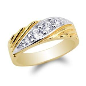 JamesJenny Womens 10K,14K White Gold Round CZ Simple Wedding Band Ring Size 4-10