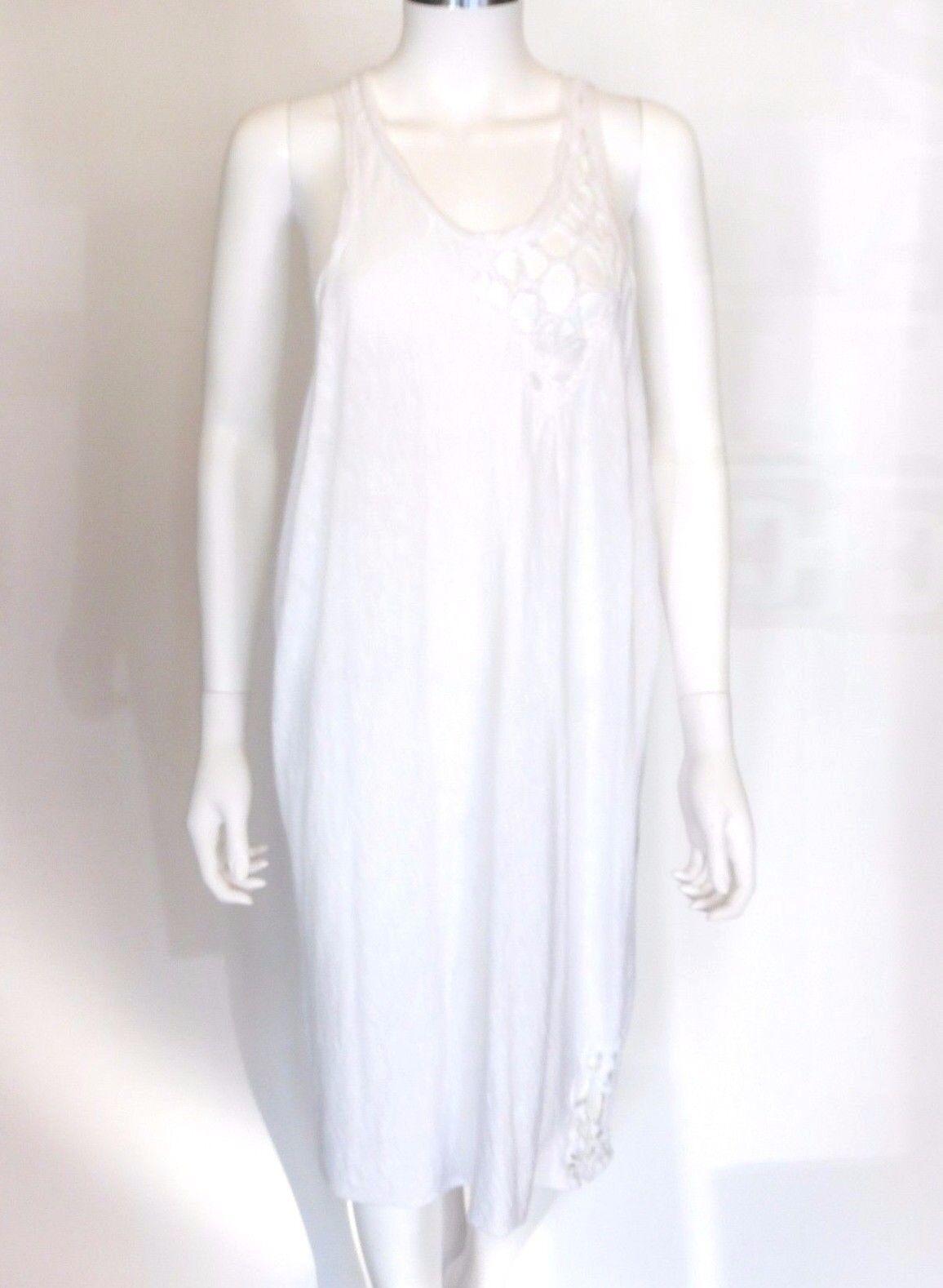 Sandrine Philippe White Tank dress w Cut-Out design Sz 8 Euro 40 Retail