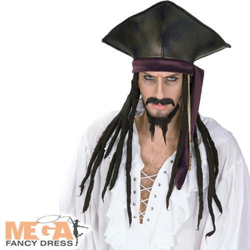 Dreadlocks Mens Fancy Dress Caribbean Adults Costume Accessory Pirate Hat