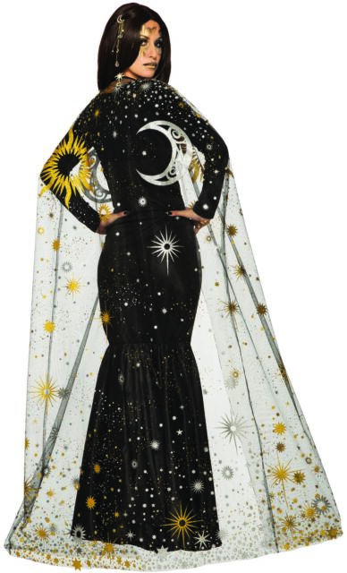 Celestial Cape Stars Sun Moon Adult Women's Halloween Costume Accessory OS