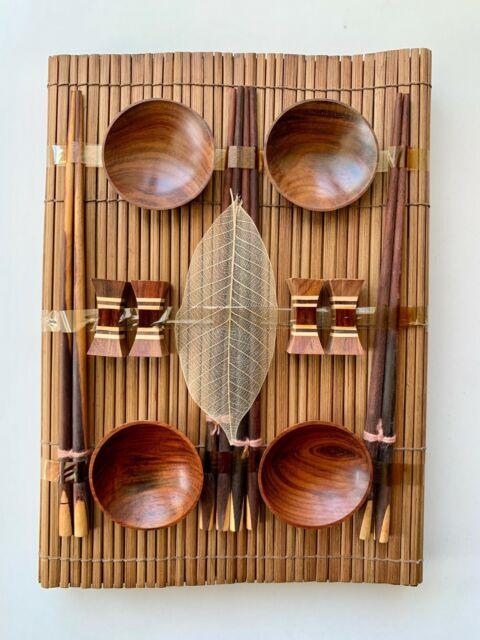 Japanese Sushi Set for 4 - Chopsticks, Rests, Sauce Dishes, Mats (Wood & Bamboo)