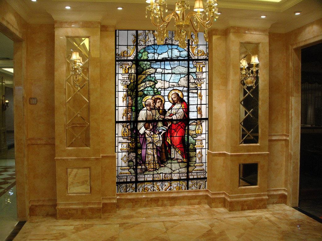 3D Gemaltes Kirchenglas 7 Tapete Wandgemälde Tapete Tapeten Bild Familie DE