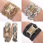 Leopard Gold dial Ladies Women Weave Leather Wrist Watch Bracelet Gift