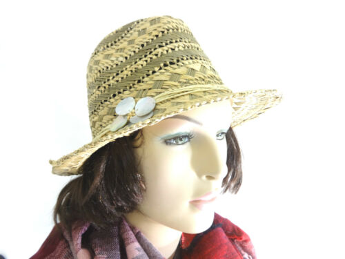 Femmes d/'été chapeau de paille neuf de la marque Shell Détail Beach Wear Holiday Time