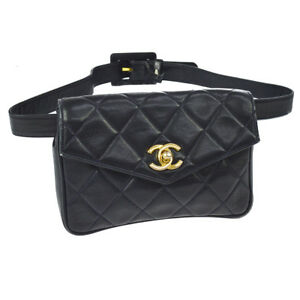 1f0e7f155e5a Authentic CHANEL Quilted CC Bum Bag Waist Pouch Navy Leather Vintage ...