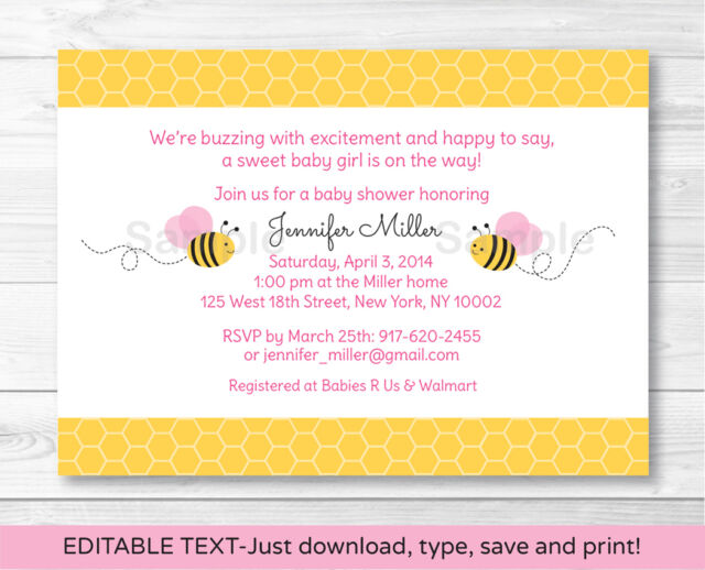 Pink Bumble Bee Printable Baby Shower Invitation Editable PDF