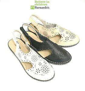 Womens-leather-comfort-walking-casual-sandals-Back-strap-Flat-shoes-Makfine
