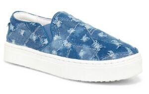 16aa5ac8e5f9 Sam Edelman Lacey Slip-On Platform Sneaker Shoe Flat Blue White 7.5 ...
