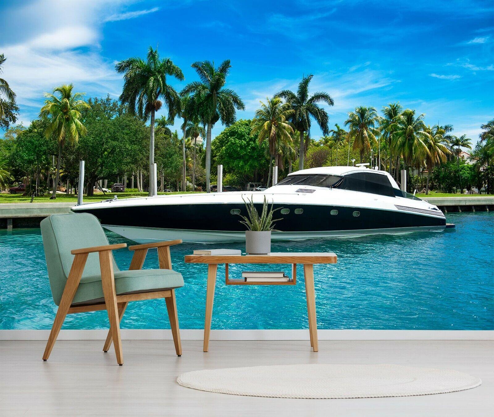 3D Sea Yacht O141 Auto Tapete Wandbild Selbstklebend Abnehmbare Angelia