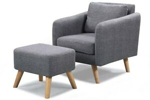 Image Is Loading Longdon Modern Fabric Armchair  Optional Matching Ottoman Footstool