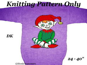 Knitting Patterns For Children s Christmas Jumpers : Christmas Elf Jumper Sweater Knitting Pattern Childrens & Adults Xmas Int...