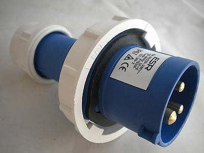 ESR P16326 16 A AMP 220-230 VOLT BLUE PLUG TOP 3 PIN  BLUE FAST FIX IP67